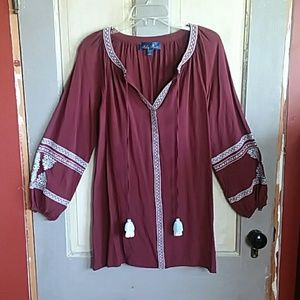 Maroon Peasant Top With Aztec and Tassle details
